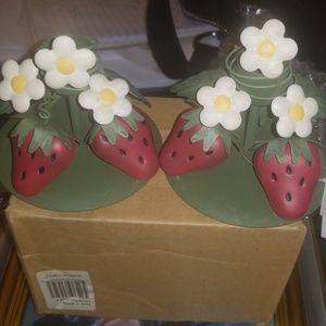 Other - Set of Two Poseable Strawberry Candleholders NEW